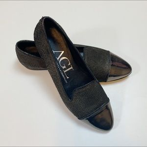 AGL Silver Cap Toe Flaked Leather Smoking Flat